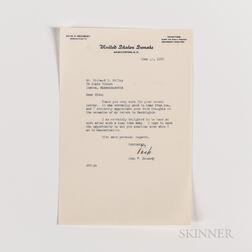 Kennedy, John F. (1917-1963) Typed Letter Signed to Richard S. Kelley, 17 June 1955.