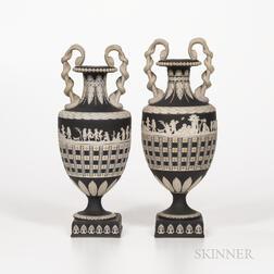 Two Wedgwood Tricolor Diceware Jasper Dip Snake-handle Vases