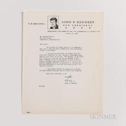 Kennedy, John F. (1917-1963) Typed Letter Signed to Richard S. Kelley, 10 October 1960, and Documents Related to the 1960 Presidential