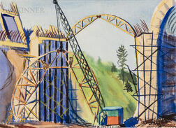 Attributed to Charles Thorndike (American, 1875-1935)      Bridge Construction.