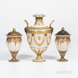 Three Wedgwood Gilded and Bronzed Queensware Vases