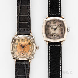 """Two Illinois Watch Co. """"Jolly Roger"""" Wristwatches"""