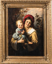 Continental School, 19th Century      Mother and Child with Grapes
