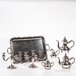 Five-piece German Sterling Silver Tea and Coffee Service with a Matching Pair of Three-light Candelabra