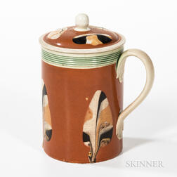 Dipped Fan Slip-decorated Pint Creamware Mug and Cover