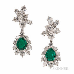 Fine Pair of Jacques Timey for Harry Winston Emerald and Diamond Day/Night Earclips