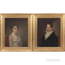Attributed to Matthew Harry Jouett (Kentucky, 1788-1827)      Portraits of John Jordan Crittenden and His First Wife Sara Lee