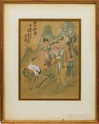 Pair of Framed Asian Paintings on Silk