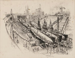 Joseph Pennell (American, 1860-1926)      Submarines in Dry Dock