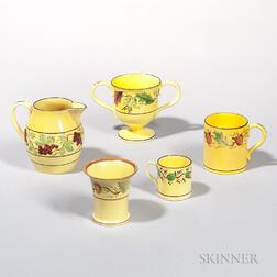 Five Yellow-glazed Earthenware Table Items