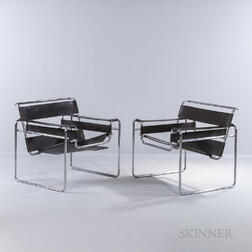 Two Marcel Breuer (Hungarian/American, 1902-1981) by Stendig Wassily Chairs