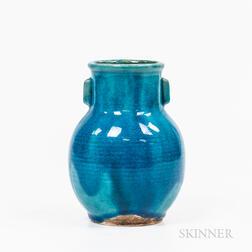 Blue-glazed Pottery Vase