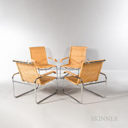 Four Marcel Breuer (Hungarian/American, 1902-1981) for Thonet B-35 Lounge Chairs
