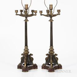 Pair of Gilded and Patinated Bronze Five-arm Table Lamps