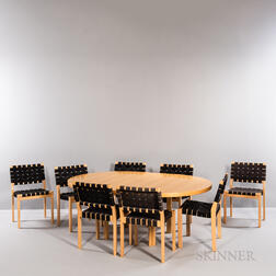 Alvar Aalto (Finnish, 1898-1976) for Artek Model H90 Dining Table and Eight Model 611/W Side Chairs