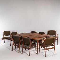 Arne Vodder (Danish, 1926-2009) for VAMO Mobelfabrik Dining Table and Eight Chairs