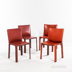 Four Mario Bellini for Cassina Model CAB 412 Side Chairs