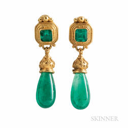 22kt and 18kt Gold and Emerald Earrings