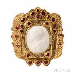 22kt Gold Gem-set Cuff Bracelet