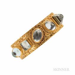 22kt and 18kt Gold Gem-set Bangle Bracelet