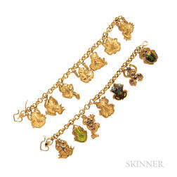 Two 22kt and 18kt Gold Frog Charm Bracelets