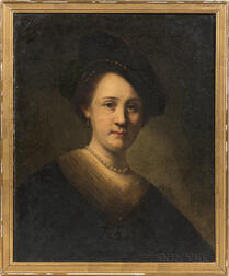 After Rembrandt Harmensz van Rijn (Dutch, 1606-1669)      Bust of a Young Woman with a Black Cap
