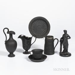 Six Wedgwood Black Basalt Items