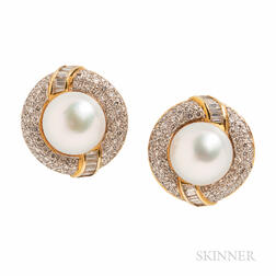 18kt Gold, South Sea Button Pearl, and Diamond Earrings