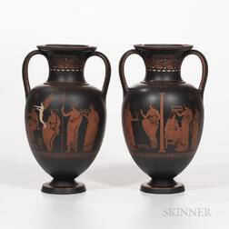 Pair of Wedgwood Encaustic Decorated Black Basalt Vases