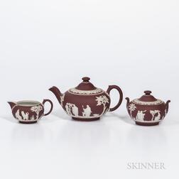 Assembled Three-piece Wedgwood Crimson Jasper Dip Tea Set