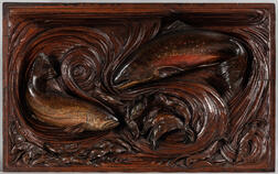 """Leander Allen Plummer II (Massachusetts/Maine, 1857-1914)      Carved """"Relief Painting"""" of Two Trout"""