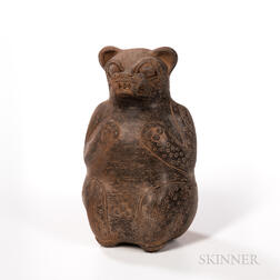 Pre-Columbian Pottery Jaguar Vessel