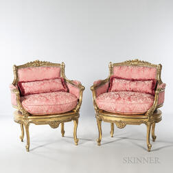 Pair of Louis XVI-style Bergeres