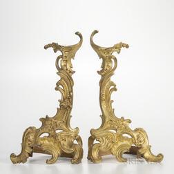 Pair of Gilt-bronze Rococo-style Chenet