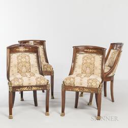 Four Napoleon III Bronze-mounted Mahogany Chairs