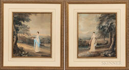 British School, 19th Century      Two Views of Elegant Women Gathering Flowers or Fruit in Landscapes