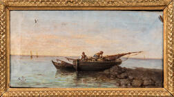 Italian School, 19th Century      Peasant Fishermen in a Small Vessel at the Shore.