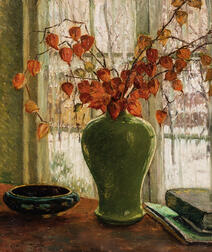 Cullen Yates (American, 1866-1945)      Winter Flowers: Japanese Lanterns in a Green Vase