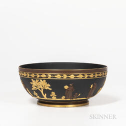 Wedgwood Gilded and Bronzed Black Basalt Bowl