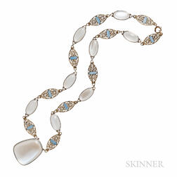 Tiffany & Co. Moonstone and Enamel Necklace