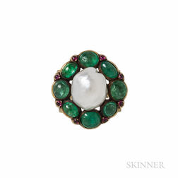Rare Marie Zimmermann Gold, Baroque Pearl, Emerald, and Pink Sapphire Ring