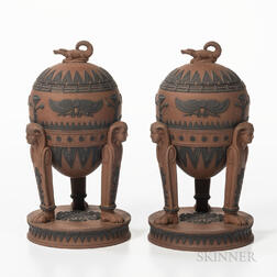 Pair of Wedgwood Egyptian Rosso Antico Tripod Vases and Covers