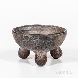 Pre-Columbian Tripod Rattle Bowl