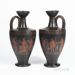 Pair of Wedgwood Encaustic Decorated Black Basalt Vases