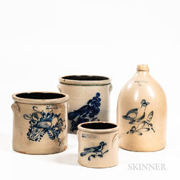 Four Cobalt-decorated Stoneware Items