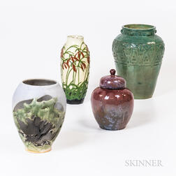 Four Pieces of French and English Art Pottery