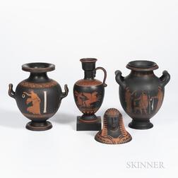 Four Encaustic Decorated Black Basalt Items