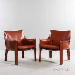 Two Mario Bellini for Cassina Model CAB 414 Lounge Chairs