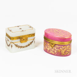 Two Opaline Glass and Gilt Dresser Boxes