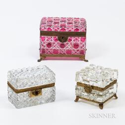 Three Glass Dresser Boxes